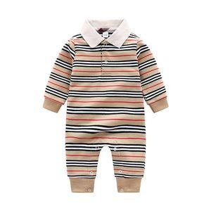 Ön satış Çocuk Tasarımcısı Romper Moda Sonbahar Bebek Erkek Eğlence Örme Tek Parça Giysi Bebek Pamuk Yenidoğan Tulum 0-2 Yıl C6529