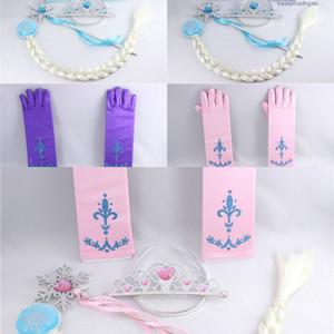 Tiara 4 Pz / set Capelli Principessa Accessori Ragazza Cosplay Bambini Plastica Corona + Parrucca + Plastica Magic Wand + Glove Co