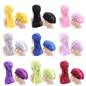 Mode Solide Color Color Bonnet Satin Nuit Sommeil Douche Douche Capuche Housses d'enveloppe Skull Cap Pirate Hat Faux Silk Set Durag Bonnt Sale E122806