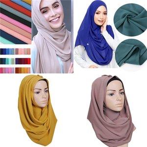 Women Plain Chiffon Scarf Head Wrap Solid Color Maxi Shawls Islamic Headband Muslim Hijabs Turban Scarves Ladies Scarf 78 Colors F120201