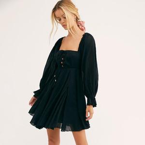 Jastie Chic Button Elastic Cuadrado Cuello Mini vestido Mujer Rible Hippie Playa Vestidos Algodón Boho Vestido de verano Vestidos 2020