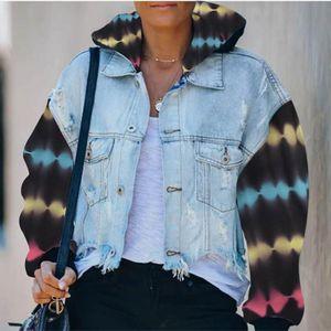 Womens Tie Dye Hooded Autumn Denim Jackets Hole Batwing Sleeve Patchwork Pocket Coats Female 2020 Fashion Streetwear Lady Tops