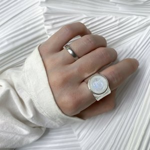 Korean Style Niche Brand S925 Sterling Silver Natural Moonstone Rings High-Level Sense Of Cold Style Opening Adjustable Ring