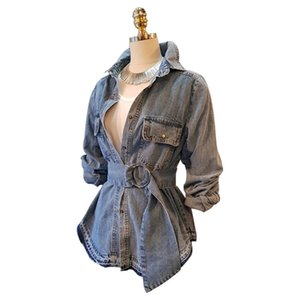 Fashion-NEW! women winter jacket fashion brand style double breasted Denim Jacket coat top quality belted slim fit cotton trench for women