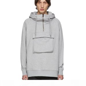 19FW Large Front Pocket Back Letter Printed Hoodies Casual Street Fashion Hooded Sweatshirt Pure Color Couple Sweatshirts Oversize HFHLWY076