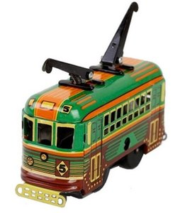 [Funny] Adult Collection Retro Wind up toy Metal Tin moving tram bus car model Mechanical Clockwork toy figures model kids gift