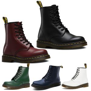 Hot Dr martin bottes 1460 noir blanc argent cerise rouge mode doc martens hiver plate-forme chaussures cheville en cuir à lacets Doc Booties avec boîte