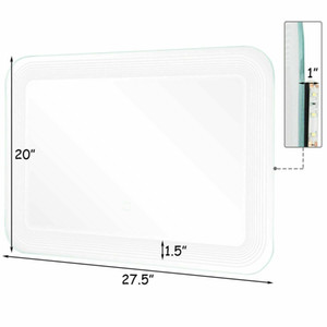 LED Wall-Mount Mirror Bathroom Vanity Makeup Illuminated Mirror W Touch Button