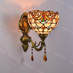 Wall Lamp Crystal Sunflower European Baroque Mirror Headlight Pastoral E27 For Living Dining Room Bedroom Bar Aisle Balcony DHL