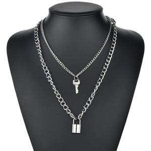 Key Padlock Pendant Necklace for Women Gold Silver Lock Necklace Layered Chain on the Neck With Lock Punk Jewelry