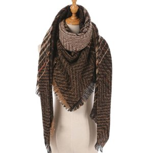 NEW Women Cashmere Scarf Knit Blanket Neck Striped Foulard Triangle Shawls and Wraps Winter Scarves Lady