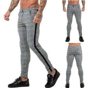 Casual Mens Chinos Cotton Slim Fit Men Pants Trousers Skinny Chinos Pants Grey Ankle Length Streetwear Plaid Side Stripe