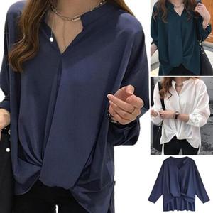 Women Chiffon Blouse Long Sleeve Women Shirts Fashion V Neck Shirt Womens Tops And Blouses 2021 Plus Size Irregular Tops