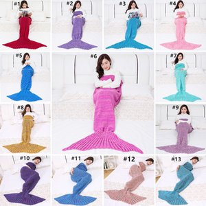 Mermaid fishtail одеяло теплые вязать вязание крючком для взрослых одеяла для дивана кандидата гостиная пикник путешествие русалка спальный мешок GWA2948
