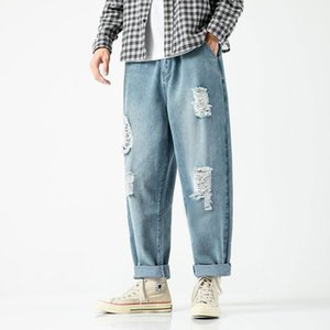 Japanese-Style Trend Vintage Harajuku Unisex Straight Jeans Male Brand Loose Straight Casual Hong Kong Style Men And Wom