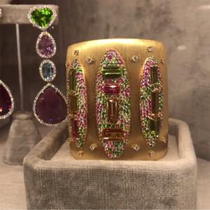 GODKI Big Fashion Luxury Bold Bangle Cuff For Women Wedding Party Multi Cubic Zirconia Crystal CZ Dubai Gold Color Bracelet 201209
