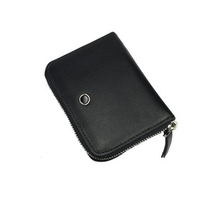 New design luxury men's black zipper bag multi-card slot ID business wallet credit card holder true leather coin purse with gift box