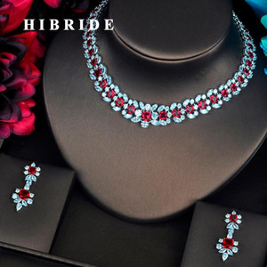 HIBRIDE Luxury Garland Shape Red CZ Jewelry Sets For Women Bride Necklace Set Wedding Jewelry Dress Accessories Wholesale N-404