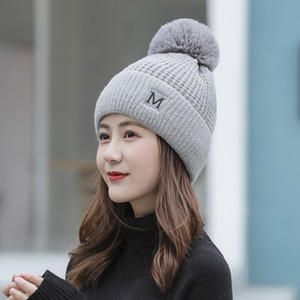 New Letters Hat Fashion Knitted Hat Female Winter Style with Fleece Warm Hat Fur Ball Wool