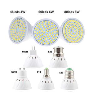 AC 110V 220V LED de milho Spotlight Energia Luz Lâmpada Lâmpada Lâmpada Cup 48 60 80 LEDs E27 E14 B22 Mr16 GU10 Base 2835Smd Daylight Warmwhite Indoor