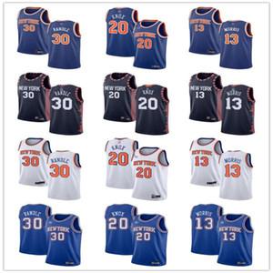 Juventude das mulheres mens.Nova yorkKnicks.30 Julius Randle 20 Kevin Knox 13 Marcus Morris Blue Branco Marinha Custom Basketball Jerseys