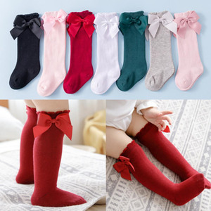 Cotton Kids Girls Socks With Big Bows Knee High Children Princess Socks For Girls Bow socks Baby Long Sock Autumn Winter Style DHA2987