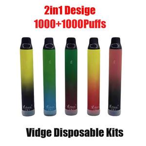 Vidge 2in1 Device monouso VAPE 3ML + 3ML 2000 POF POD portatile 950mAh 2 in 1 Kit penna vuota VS Ezzy Alphaa Onee Stick Plus