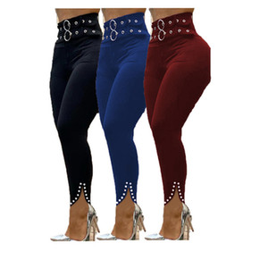 womens plus size trousers pure color high-waisted tight skimpy pants with split rivet double breasted sexy pants klw0278