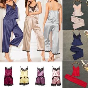 Yaz Kadınlar Seksi Dantel Saten Set Kızlar Patchwork Kolsuz Serin Pijama Pijama Pijama Bayanlar için Uyku Giyim