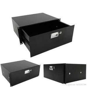 19 Inch Rack Mount 4U Plate DJ Drawer Equipment Cabinet Lockable with key Black