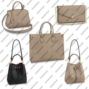 M45494 Desinger Real Greazy Cheageide кожа Onthego Neonoe MM Женщины Ведро Сумка Tote Tote Scutch Shops Body Body Bag