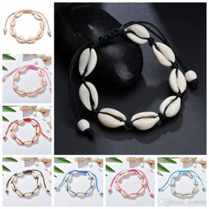 VSCO Girl Shell Charm Bracelets Bohemian Handmade Seashell Adjustable Braided Rope Bangles Women Hand Knit Beaded Bracelet Beach Jewelry