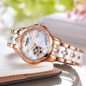 star-name brand watch mechanical ladies luminous watch inlaid feme steel watch female