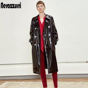 Nerazzurri Abrigo de zampas de cuero de patente negro a prueba de agua de Nerazzurri para las mujeres 2020 Double Breasted Iridiscente de cuero de gran tamaño LJ201126