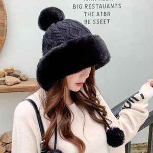 Womens Faux Fur Knitted Bobble Beanie Hat Pom Pom Ball Cossack Skiing Cap Furry Women Ladies Clothing Accessories Plain1