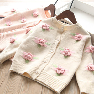 INS New Kids stereo flowers jacquard knitting sweater 2021 new children round collar single-breasted cardigan girls knitting outwear A5620
