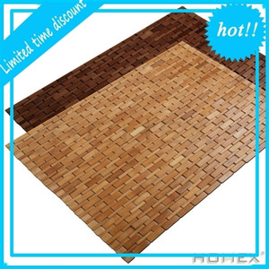 Folding Bamboo Shower Mildew Resistant Teak Bath Mat with Non Slip Grips