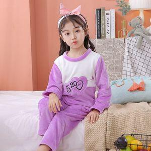 Children Long Sleeve Warm Flannel Pajamas 2020 Winter Boy Girl Sleepwear Cartoon Baby Nightwear Gift Kids Lovely Pyjamas Set Q1203