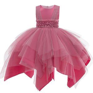 PLBBFZ FLOWN Kids Girls Vestido de novia Elegante Princesa Partido Tutu Tutu Cumpleaños Formal Vestido sin mangas Ropa 3-10 años F1217
