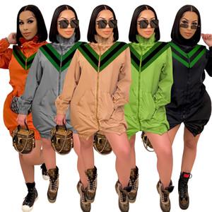 Женщины Длинные Рукава Ветроболяющие Куртки Мода Длинная Куртка в 5 Цветах Повседневная Молния Fly Trench Пальто 2021 Новый Стиль