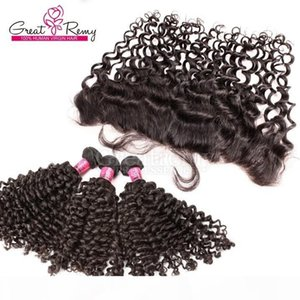 Greatremy 13x4 Deep Curly Lace Frontal Closure with Hair Bundles Curly Wave Brazilian Virgin Hair Weave Lace Frontal Free Milld 3 Part