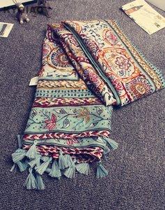 Kyqiao tête foulard 2020 nouvelles femmes filles printemps automne digner long bohème ethnique impression soft écharpe patillon enveloppe châle volée