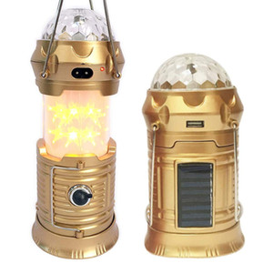 4 in 1 Rechargeable Camping Lantern, Portable Flashlight, Solar Powered Retractable Star Lantern, Stage Light, Camping Tent Lantern