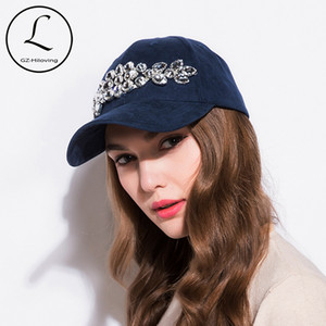 GZHILOVINGL Women's Baseball Cap Manual Flower Snapback Hat Sun Caps Gorra Hip Hop Artificial Rhinestones Hats 70311 Y1130