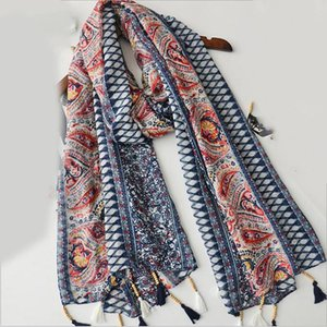 Women Soft Print Wraps Hair Fringed Neckerchief Western Style Female Cashew Shawls Ethnic Fashion Beach Scarves