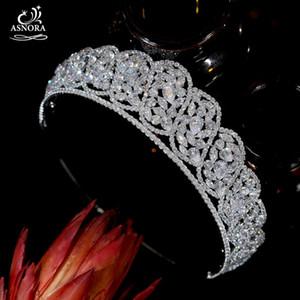 Estilo europeu casamento vintage cúbico zircônia real canto coroas, cristal princesa headdress asnora nupcial tiara a01046