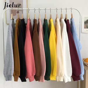 JIELUR 12 Solid Color Sweats Hoodies Jersey Femmes Winter Coréen Harajuku Sweatshirt Femmes Kpop Kawaii Noir Rose Rose Pullover Y200706