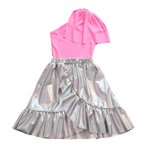 Chifuna Nouveauté State Solid Ruffle Fête Fashion T-shirt de mode + Skiches de style 2Pièces Définit les vêtements pour filles pour les filles Vêtements de bébé Y200325