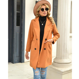 Leosoxs 2020 Autumn Winter New Fashion Lapel Women's Jackets Causal Loose Solid Long Sleeve Buttons Pocket Ladies Long Jackets