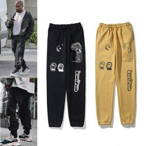 Kanye Mens Pantalones High Street Pantalones para hombres Sweatpants reflectantes Casual Hombre Hip Hop Camo Streetwear Camo de alta calidad con caja
